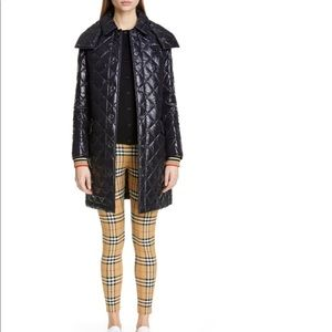 Burberry Monogram Logo Knit Cuff Quilted Coat